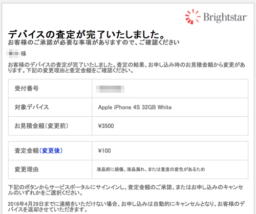iPhone 4Sの査定結果